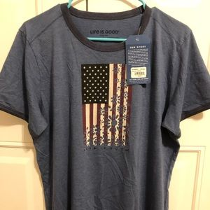 Navy Blue Shirt with Floral American Flag Design